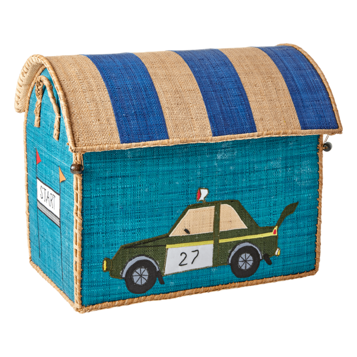 Race Car Raffia Toy Box: Medium