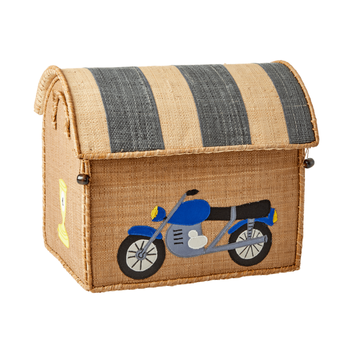 Motorcycle Raffia Toy Box: Small