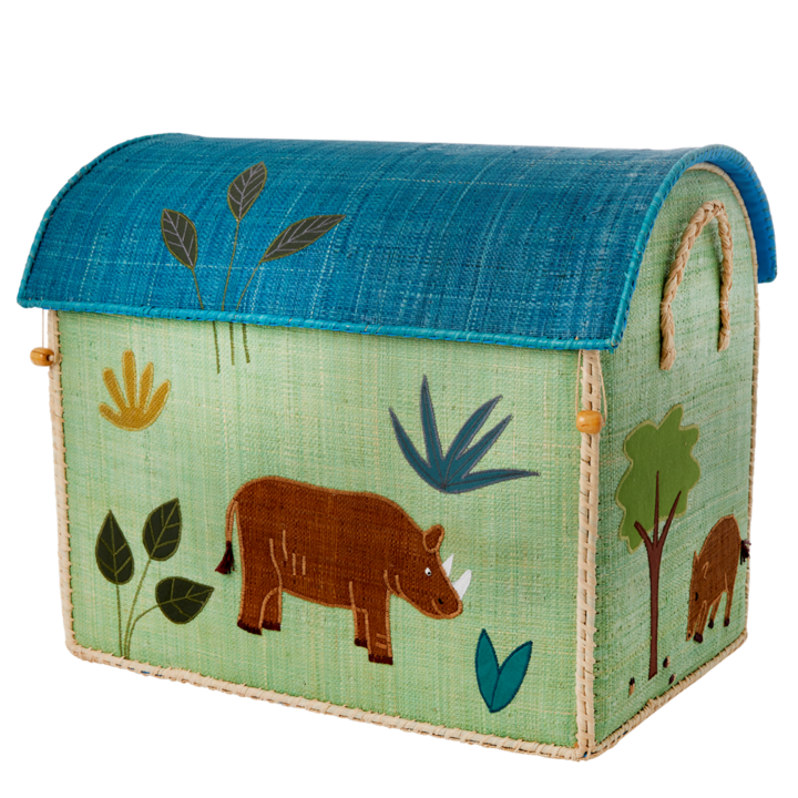 Rhino Safari Raffia Toy Box: Large