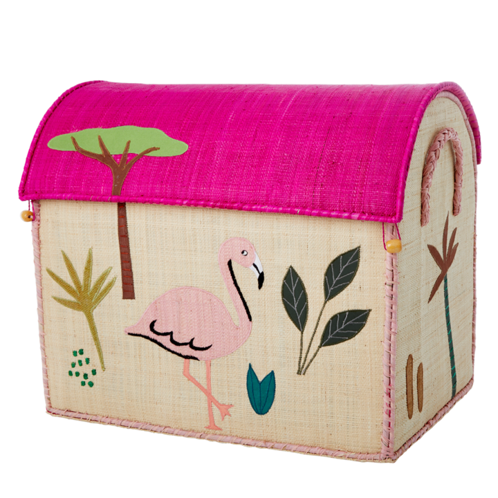 Flamingo Raffia Toy Box: Large