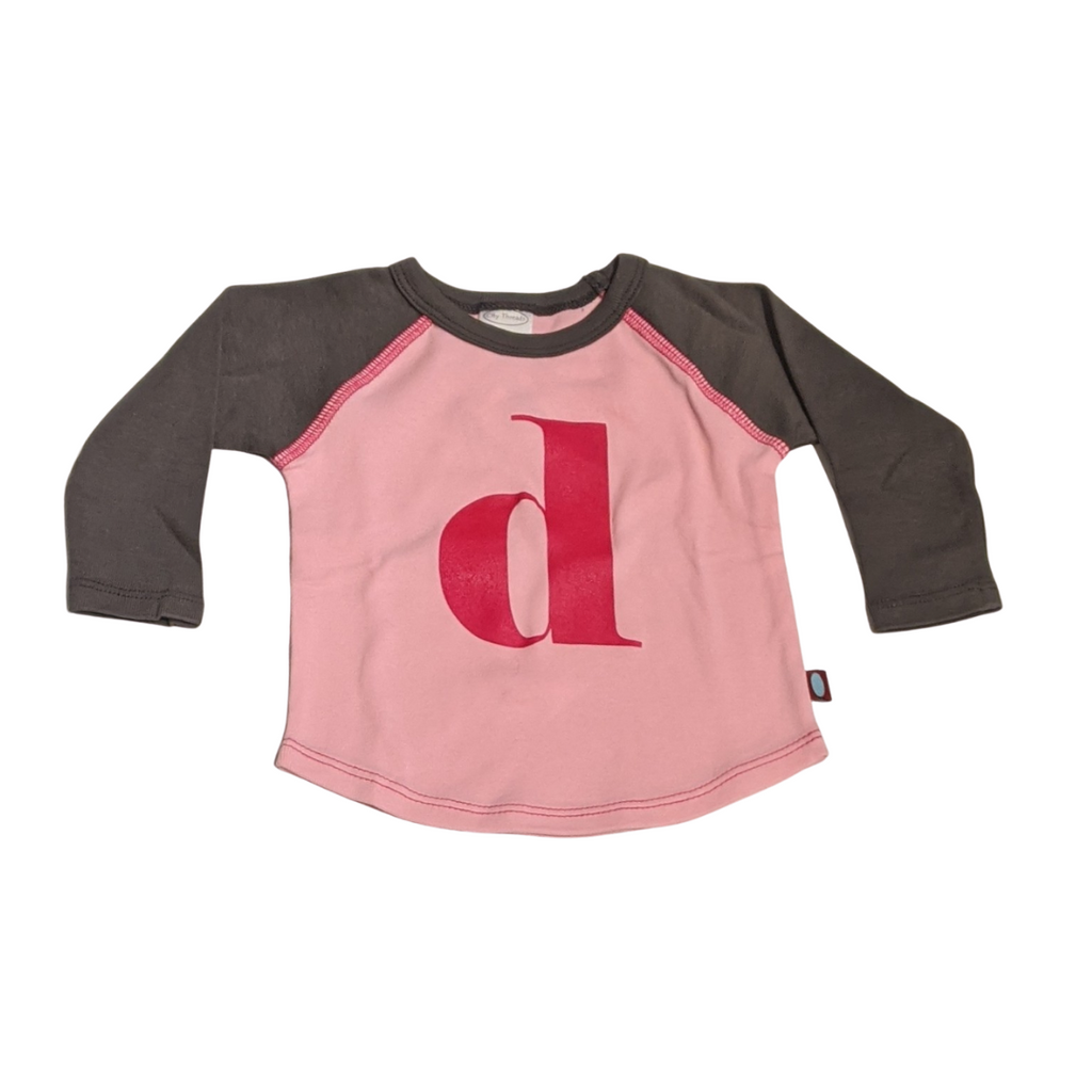 """D"" Charcoal & Light Pink Initial Tee"