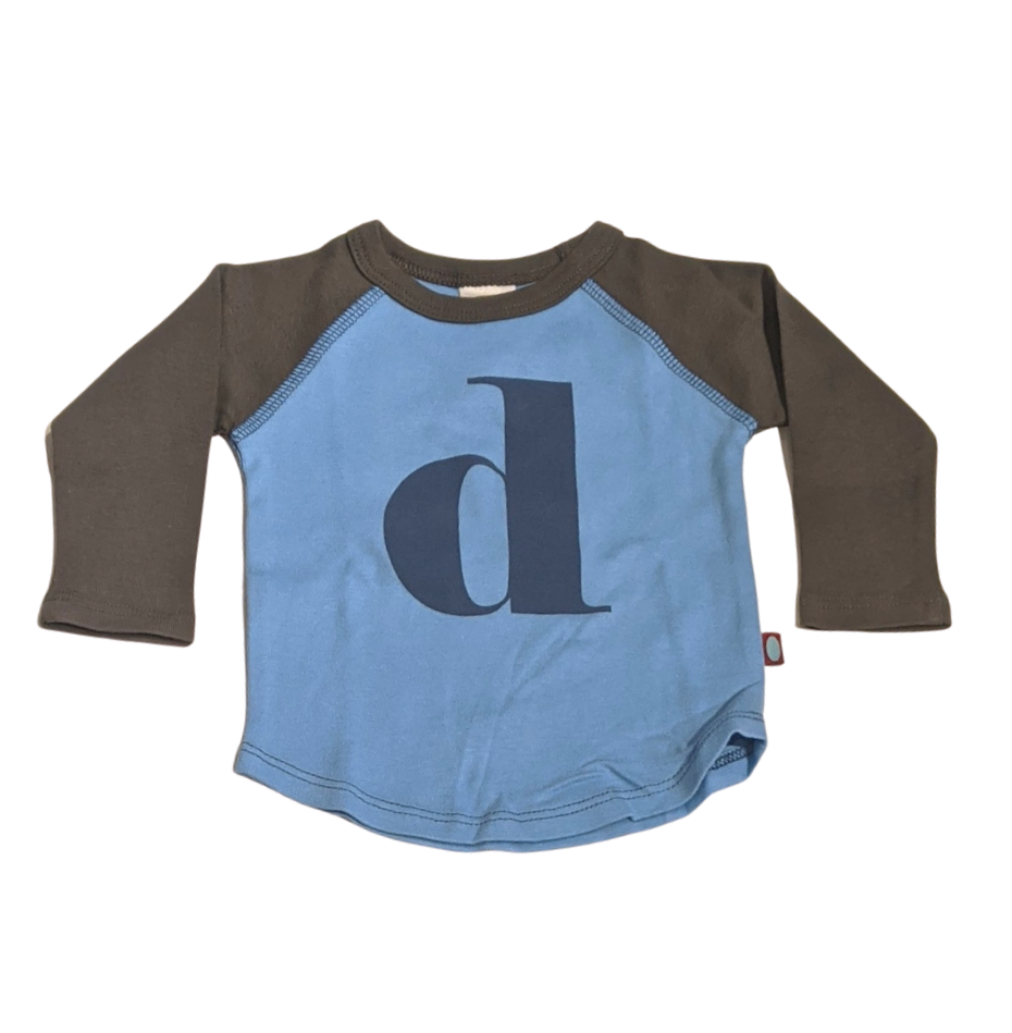 """D"" Charcoal & Sky Blue Initial Tee"