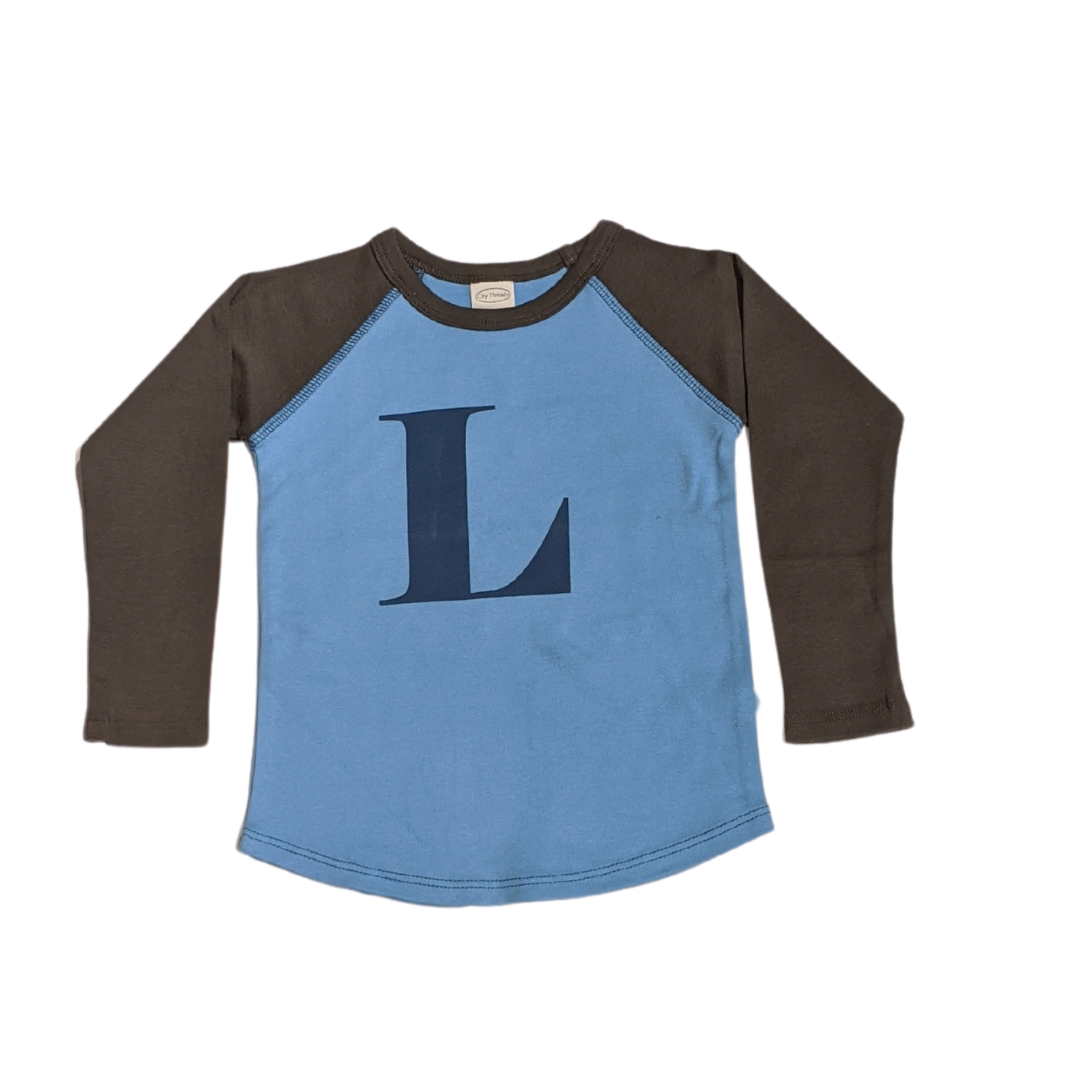 """L"" Charcoal & Sky Blue Initial Tee"