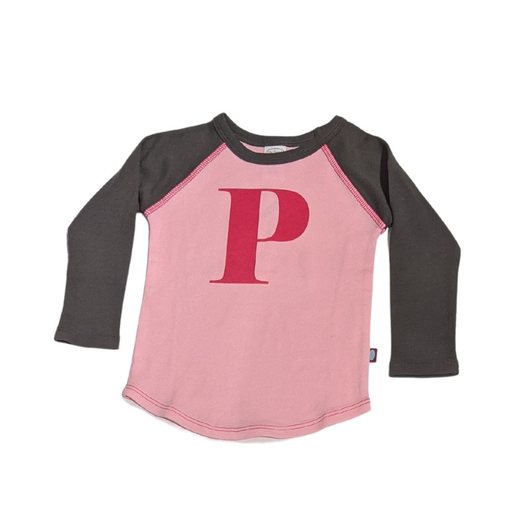 """P"" Charcoal & Light Pink Initial Tee"