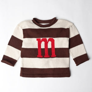 Devon Knitwear Striped Initial Sweater