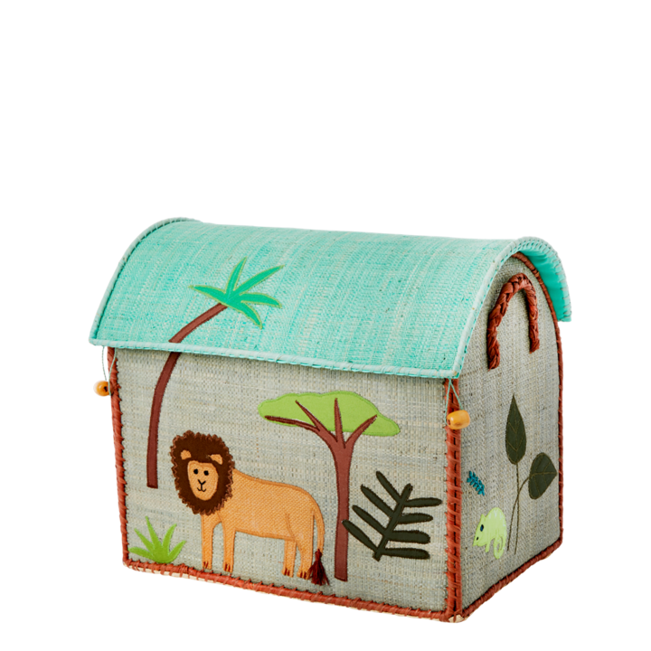 Lion Raffia Toy Box: Small