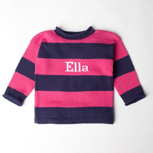 Devon Knitwear Striped Name Sweater