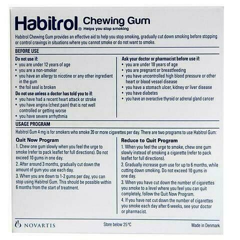 Habitrol Nicotine Gum 4 mg Mint Flavor 384 Pieces Bulk Box