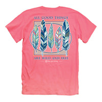 Youth Itsa Girl Thing T-Shirt - Feathers - Wild And Free - Color Coral