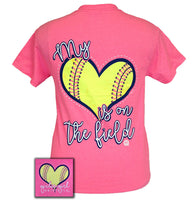 Girlie Girl Originals T-Shirt - My Heart Is On The Field - Softball