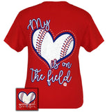 Girlie Girl Originals T-Shirt - My Heart Is On The Field - Baseball