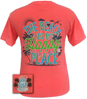 Girlie Girl Originals T-Shirt - Beach Is My Happy Place - Comfort Colors Tee