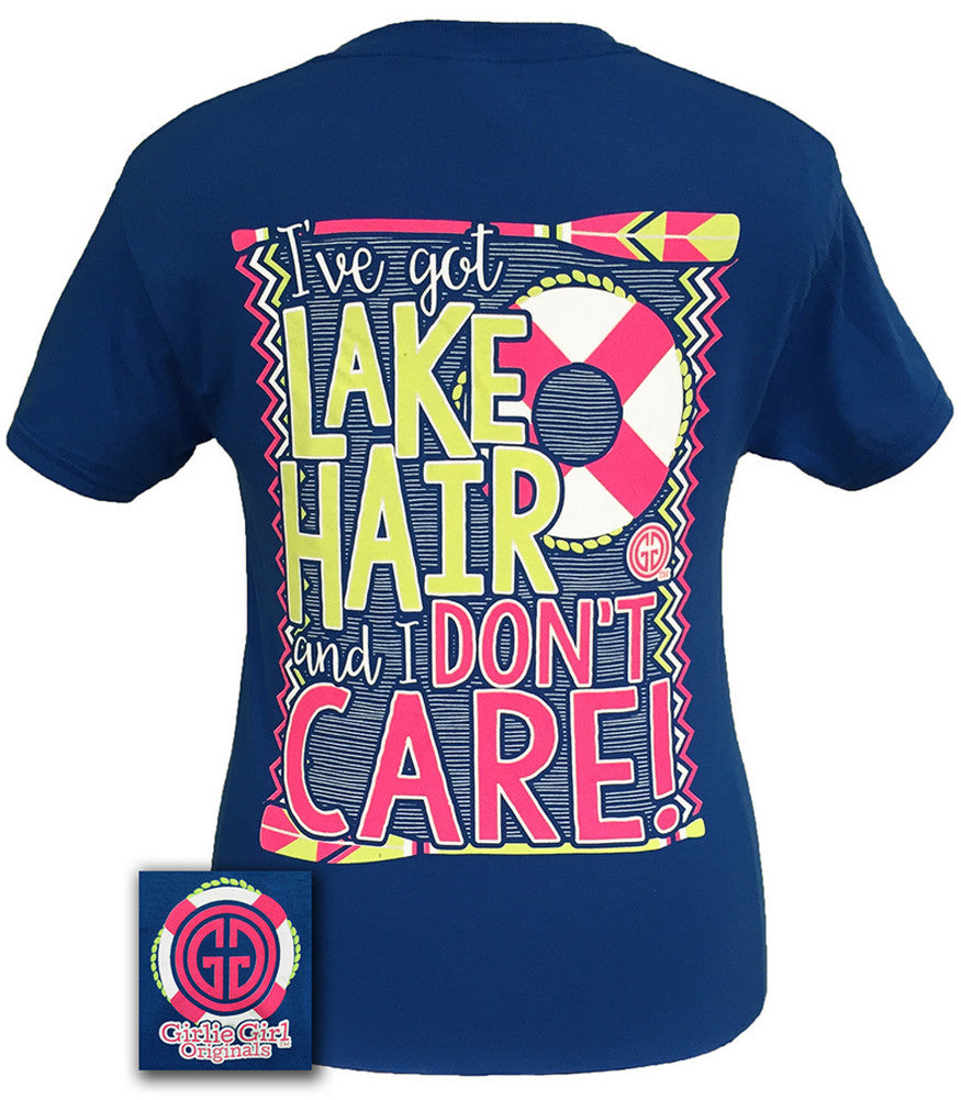 Girlie Girl Originals T-Shirt - Lake Hair Don't Care - Color Neon Blue