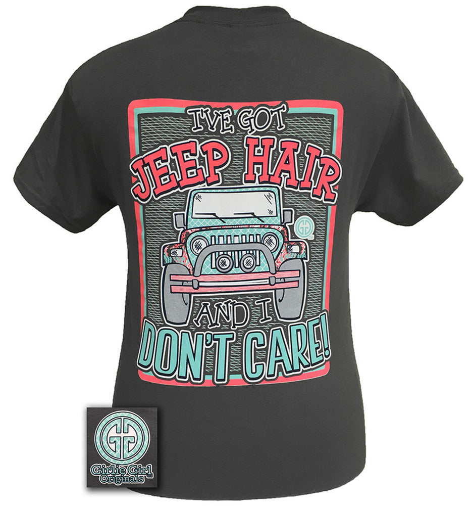 Girlie Girl Originals T-Shirt - Jeep Hair Don't Care - Color Charcoal