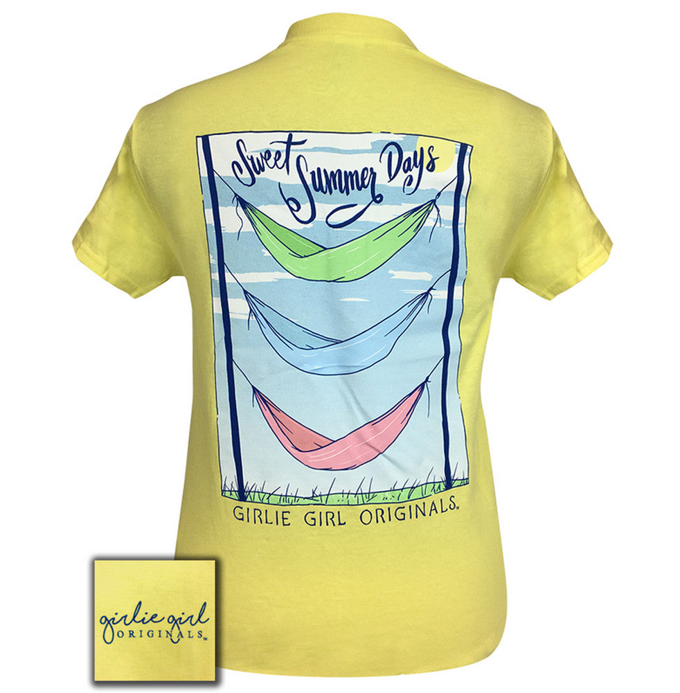 Girlie Girl Originals T-Shirt - Sweet Summer Days Hammock - Color Cornsilk Yellow