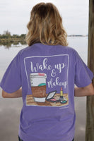 Anna Grace Tees T-Shirt - Coffee Wake Up And Makeup - Comfort Colors Tee
