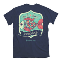 Youth Itsa Girl Thing T-Shirt Just Keep Swimming Fish - Color Navy