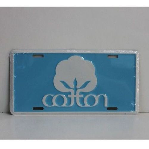Cotton Logo Car Tag - Metal - Sky Blue - Seal Of Cotton License Plate