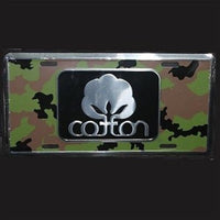 Seal Of Cotton Logo - Camo Metal Car Tag - Color Black - License Plate