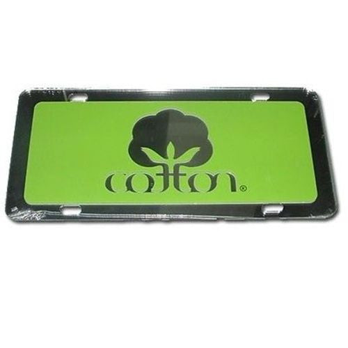 Seal Of Cotton Logo Acrylic Licence Car Tag - Color Lime Green