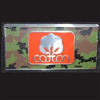 Seal Of Cotton Logo - Camo Metal Car Tag - Color Orange - License Plate