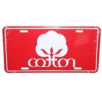 Cotton Logo Car Tag - Metal - Red - Seal Of Cotton License Plate