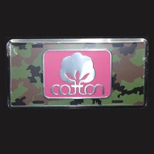 Seal Of Cotton Logo - Camo Metal Car Tag - Color Hot Pink - License Plate