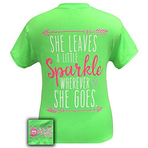 Girlie Girl Originals She Leaves a Sparkle T-Shirt Neon Green