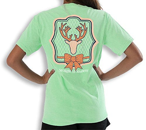 Itsa Girl Thing T-Shirt Preppy Deer - Bow Tie - Color Mint