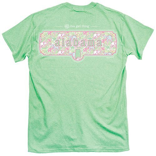Itsa Girl Thing T-Shirt State Of Alabama With Elephant Design - Color Mint