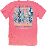Itsa Girl Thing T-Shirt Feathers All Good Things Wild And Free - Color Coral