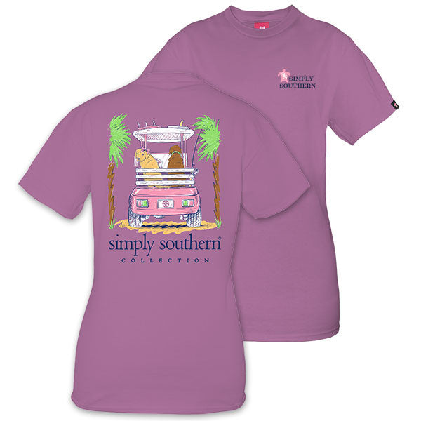 Simply Southern Tees Preppy T-Shirt - Dogs & Cart Palm Trees - Color Eggplant Purple
