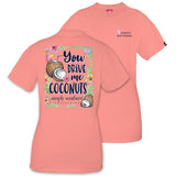 Simply Southern Tees Preppy T-Shirt - You Drive Me Coconuts - Color Melon