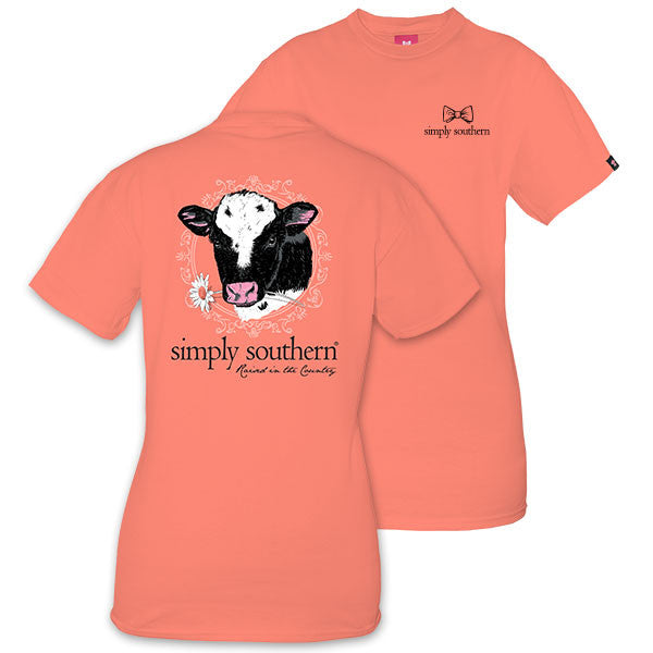 Youth Simply Southern Tees Preppy Cow T-Shirt - Raised In The Country - Color Poppy