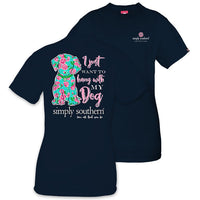 Simply Southern Tees Preppy Dog T-Shirt - I Just Want To Hang With My Dog - Color Navy