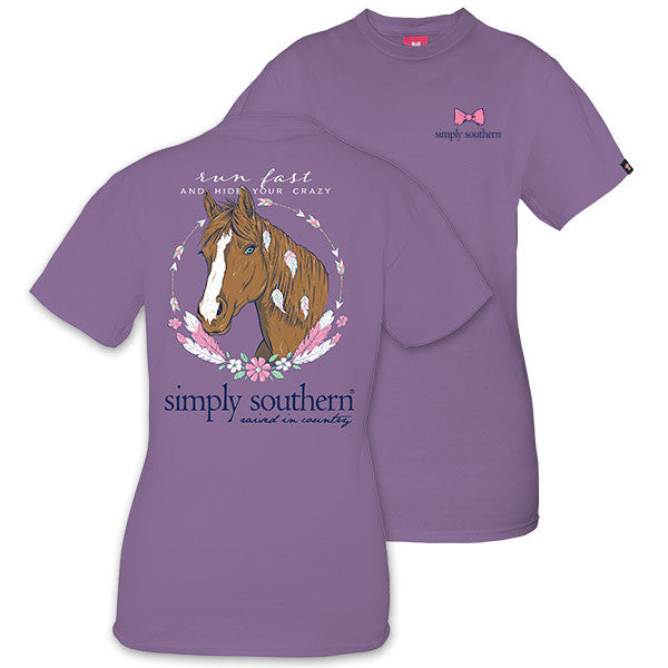 Simply Southern Tees Preppy Horse T-Shirt - Run Fast And Hide Your Crazy - Tee Color Amethyst