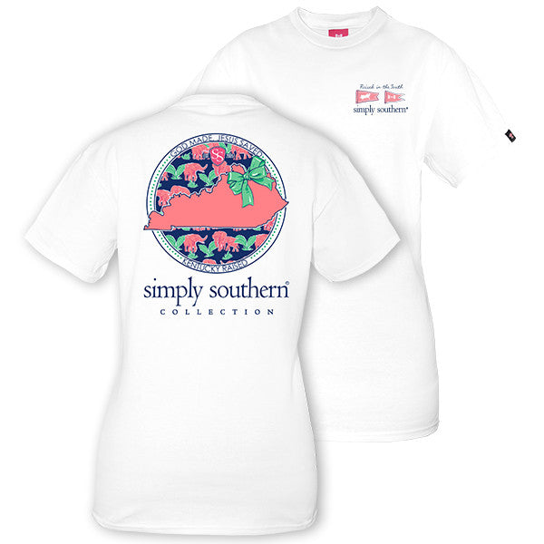 Simply Southern Tees Preppy T-Shirt - Kentucky Raised - Color White