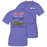 Simply Southern Tees Preppy Boat Canoe T-Shirt - Lake Hair Don't Care - Color Periwinkle