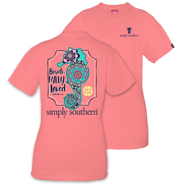 Simply Southern Tees Preppy Seahorse T-Shirt - Beautifully Loved - Tee Color Peony
