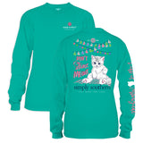 Simply Southern Tees Long Sleeve Cat T-Shirt - Don't Stress Meowt - Color Seaglass