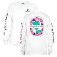 Simply Southern Tees Preppy Long Sleeve T-Shirt - Whale - Think Happy - Color White