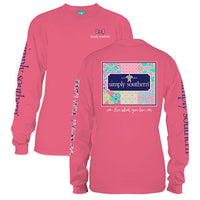 Simply Southern Tees Long Sleeve T-Shirt - Patchwork Logo - Color Strawberry