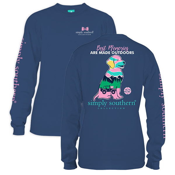 Simply Southern Tees Long Sleeve T-Shirt - Preppy Outdoors Dog - Color Moonrise
