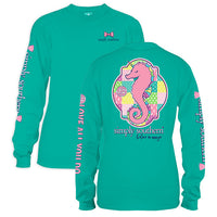 Simply Southern Tees Long Sleeve T-Shirt - Seahorse Unicorn - Color Seaglass
