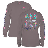 Simply Southern Tees Long Sleeve T-Shirt - Cactus - Lookin Sharp - Color Steel