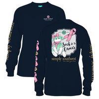 Simply Southern Tees Long Sleeve T-Shirt - Monkey - Sock It To Cancer - Color Navy
