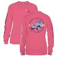 Simply Southern Tees Long Sleeve T-Shirt - Jeep Sweet Pineapple - Color Strawberry