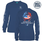 Simply Southern Tees Unisex Long Sleeve T-Shirt - USA Flag Crab - Color Moonrise