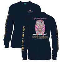 Simply Southern Tees Long Sleeve T-Shirt - Owl - Love Who You Are - Color Navy