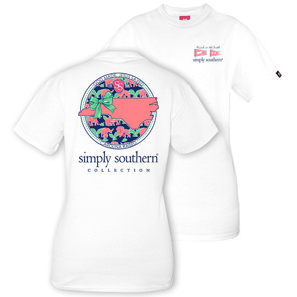 Simply Southern Tees Preppy T-Shirt - North Carolina Raised - Color White
